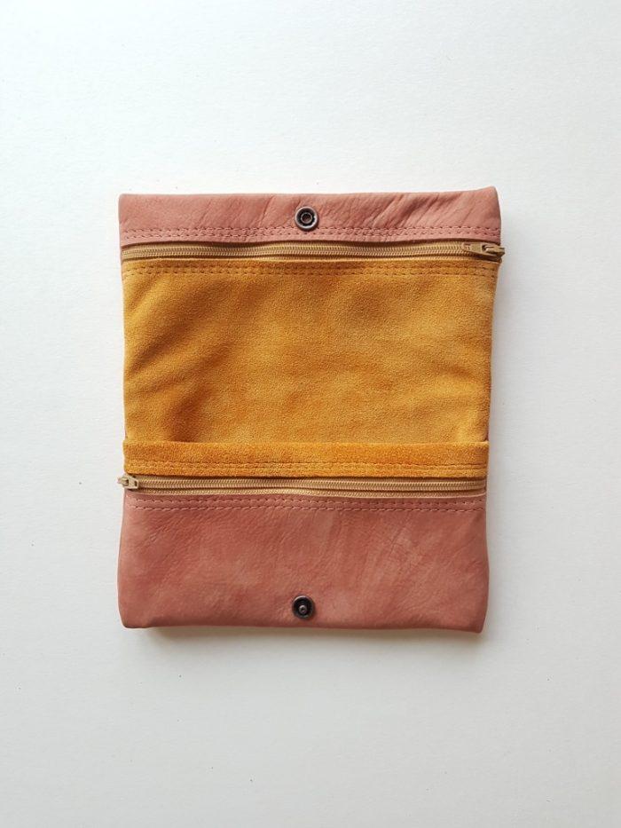 Hippe handgemaakte leren portemonnee vrouw large
