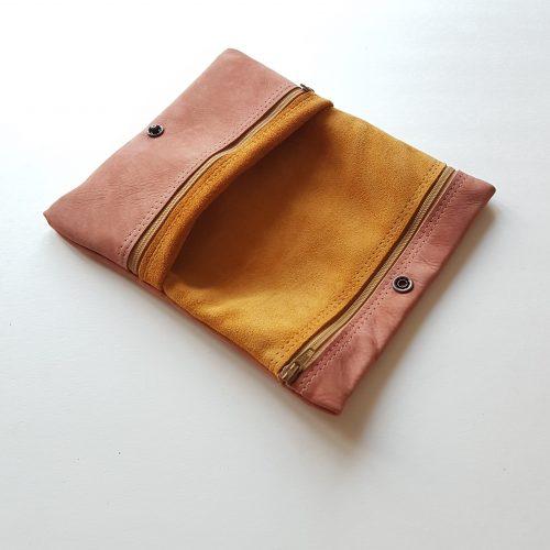 Grote hippe handgemaakte leren portemonnee vrouw