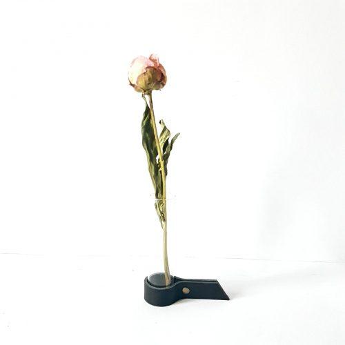 leren bloemenhouder zwart